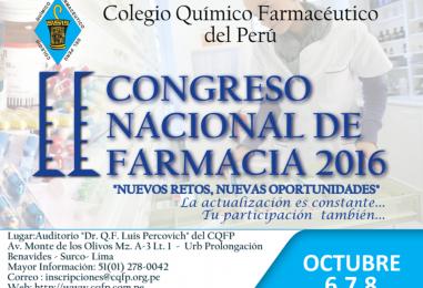 Temas del II Congreso Nacional de Farmacia 2016