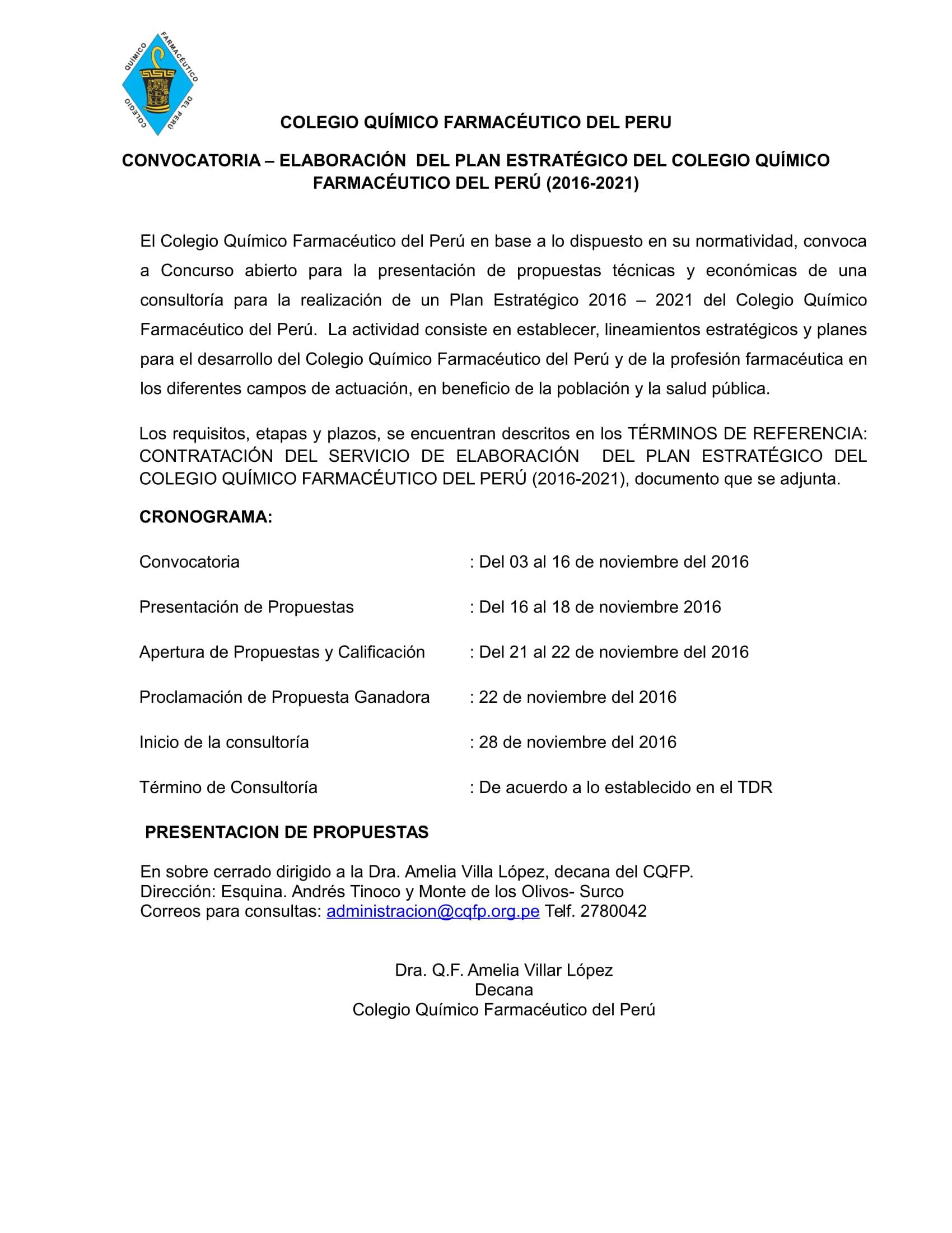 AMPLIACIÓN CONVOCATORIA – ELABORACIÓN DEL PLAN ESTRATÉGICO DEL COLEGIO QUÍMICO FARMACÉUTICO DEL PERÚ (2016-2021)