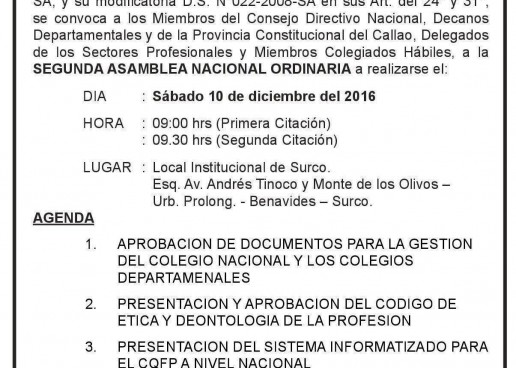 2da ASAMBLEA NACIONAL ORDINARIA 10 Dic.