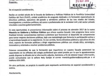 Admision 2017 – Nueva Maestria en Gobierno y Politicas Publicas – PUCP