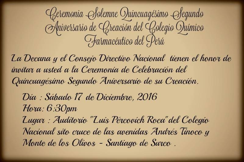 LII Aniversario de Creación del Colegio Químico Farmacéutico del Perú