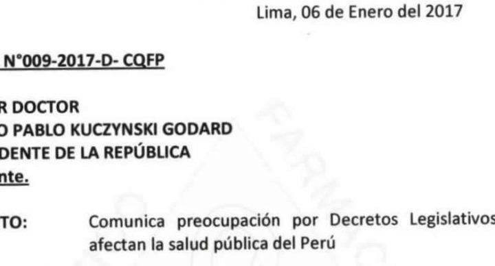 OFICIO ABIERTO AL PRESIDENTE DE LA REPÚBLICA N°009-2017-D-CQFP