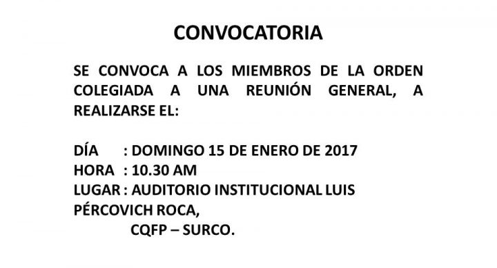 CONVOCATORIA - Domingo 15, 10:30 a.m.