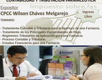 Seminario: Contabilidad y Tributación Farmacéutica, 15 Set. - 19 hrs.