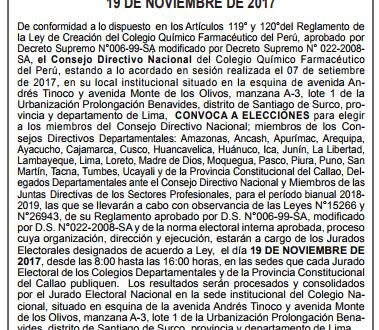 Convocatoria a Elecciones Periodo 2018-2019