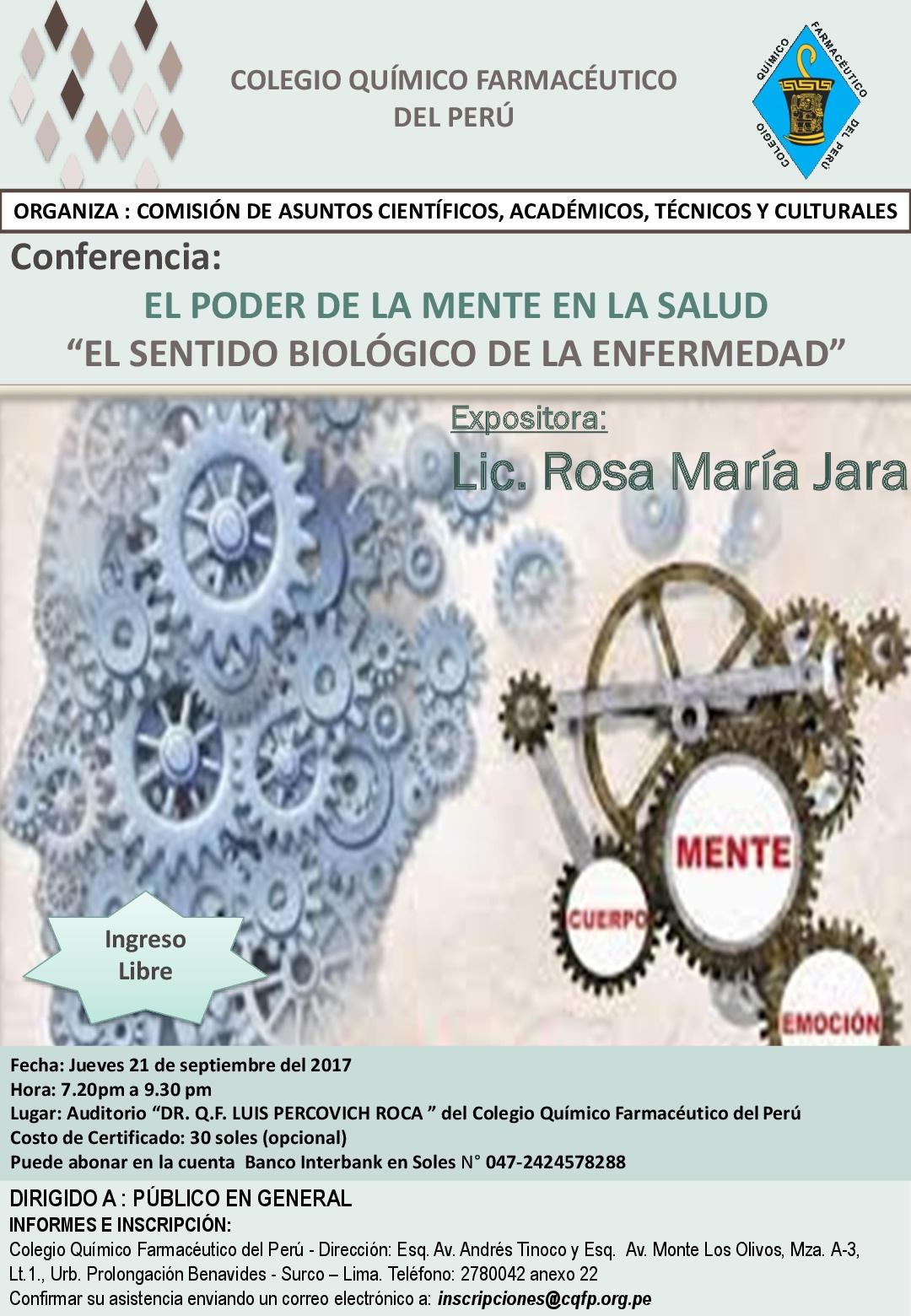 """Conferencia: El Poder de la Mente en la Salud """"El Sentido Biológico de la Enfermedad"""", 21 Set. - 19:20 Hrs."""