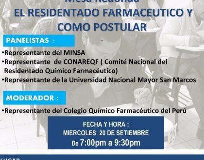 Mesa Redonda EL RESIDENTADO FARMACÉUTICO Y COMO POSTULAR