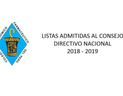 COMUNICADO Nº3 - LISTAS ADMITIDAS AL CONSEJO DIRECTIVO NACIONAL 2018 - 2019