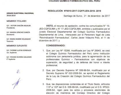 RESOLUCIÓN Nº10-2017-CQFP-JEN-2018-2019