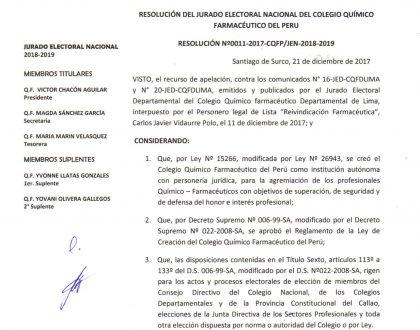 RESOLUCIÓN Nº11-2017-CQFP-JEN-2018-2019