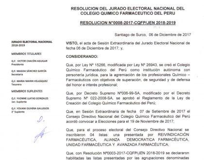 RESOLUCIÓN N°0008-2017-CQFP-JEN 2018-2019