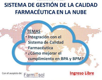 SEMINARIO WEB: SISTEMA DE GESTIÓN DE LA CALIDAD FARMACÉUTICA EN LA NUBE