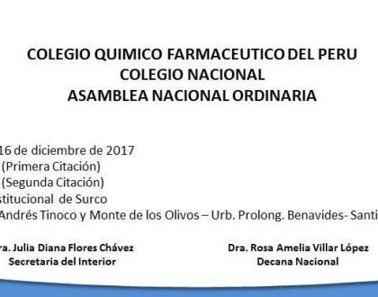 ASAMBLEA NACIONAL ORDINARIA, 16Dic. 9Hrs.
