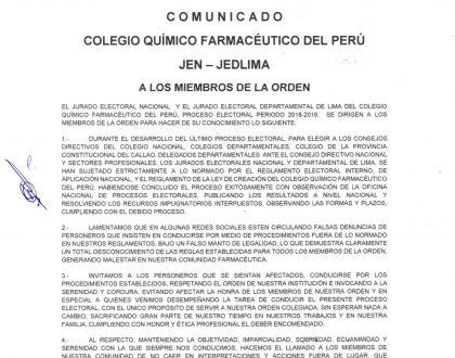 COMUNICADO JEN - JEDLIMA