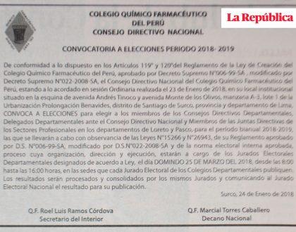 CQFP Publica anuncios informando sobre la Asamblea Nacional Ordinaria y convocando a Elecciones Periodo 2018 - 2019